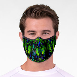 Neon blue and green with pink unisex abstract premium face mask