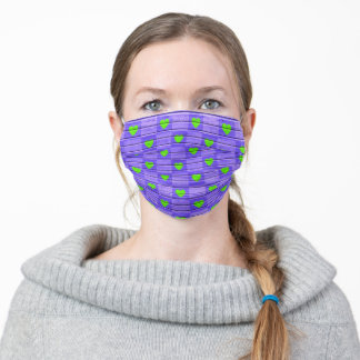 neon green hearts on purple adult cloth face mask