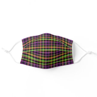 Neon Green Purple Plaid Halloween Party Adult Cloth Face Mask