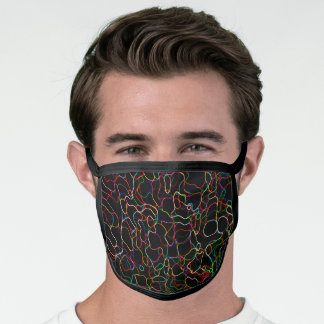 Neon Multicolored Curvy Line Pattern -COOL Face Mask
