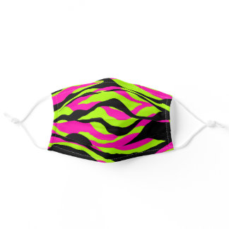 Neon Pink and Green Zebra Animal Print Adult Cloth Face Mask