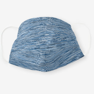 Neutral Blue Lines Pattern Cloth Face Mask