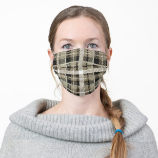 Neutral Brown Plaid Pattern Adult Cloth Face Mask