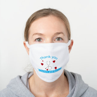 new design for thank you white cotton face mask