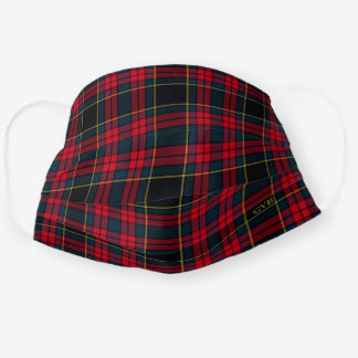 New Fall Winter Executive Deep Blue & Red Plaid Cloth Face Mask
