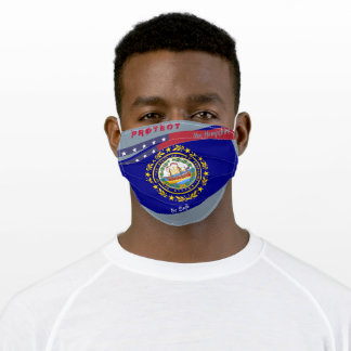 New Hampshire Flag w/ Stars Stripes on Cool Grey Adult Cloth Face Mask