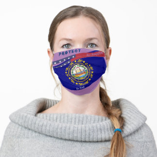 New Hampshire Flag w/ Stars Stripes on Lavender Adult Cloth Face Mask