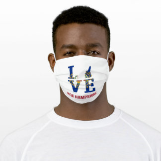 New Hampshire State USA Love Adult Cloth Face Mask
