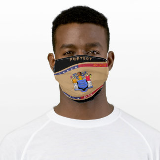 New Jersey Flag w/ Stars Stripes on Black Adult Cloth Face Mask