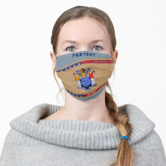 New Jersey Flag w/ Stars Stripes on Cool Grey Adult Cloth Face Mask