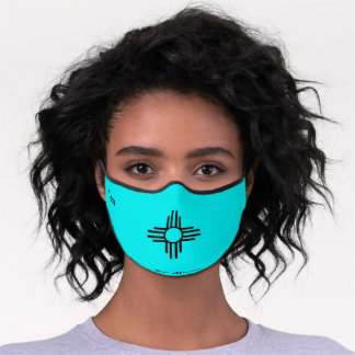 New Mexico Zia Sun Symbol Turquoise Adjustable Premium Face Mask