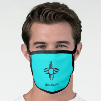 New Mexico Zia Sun Symbol Turquoise Comfortable Face Mask
