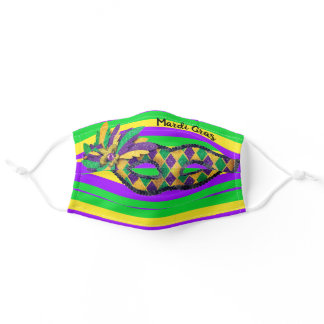 New Orleans Mardi Gras Party Purple Green Yellow Adult Cloth Face Mask