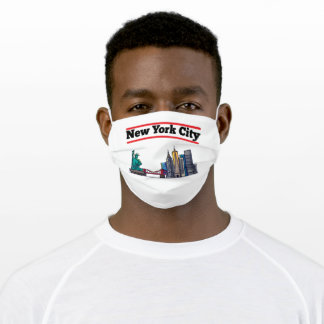 New York City Retro / Vintage Style - Skyline N.Y. Adult Cloth Face Mask
