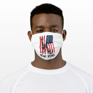 New York NY Statue of Liberty USA America Flag Adult Cloth Face Mask