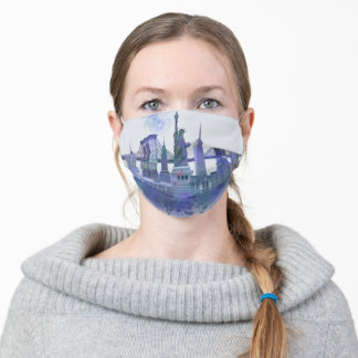New York Skyline - Watercolor Blue Adult Cloth Face Mask