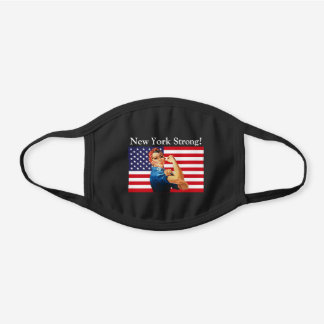 New York Strong! Rosie The Riveter USA Flag Blk Black Cotton Face Mask