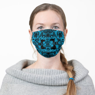 New Zealand Kiwi inspired Face Mask: Black and Blu Adult Cloth Face Mask