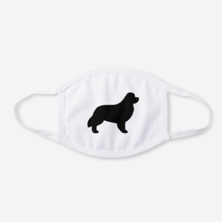 Newfoundland Dog Breed Silhouette White Cotton Face Mask