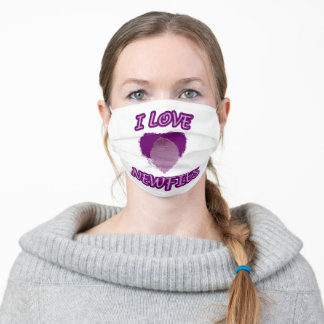 Newfoundland dog in a heart adult cloth face mask