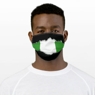 Nigerian Flag   Faux Torn Out Look Adult Cloth Face Mask