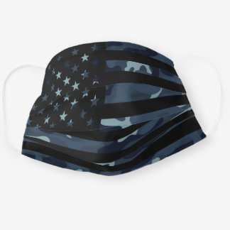 Night Camo - Dark Blue Camouflage American Flag Cloth Face Mask