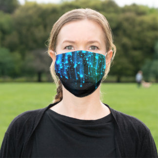 Nights Of Rain and Stars Meteor Shower Blue Adult Cloth Face Mask