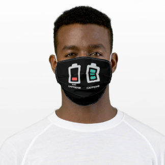 No Caffine Empty Battery Caffine Battery Full Adult Cloth Face Mask