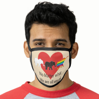 No matter what, we are all equal elephants design face mask