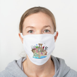 Noah's Ark With Animals White Cotton Face Mask
