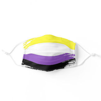 Nonbinary Pride Flag Horizontal Stripes Striped Adult Cloth Face Mask