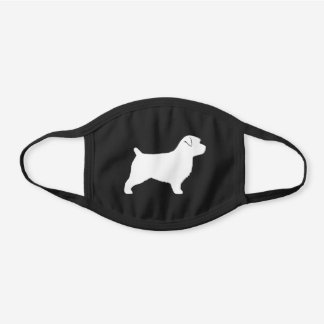 Norfolk Terrier Dog Breed Silhouette Black Cotton Face Mask