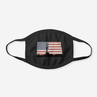 North Dakota American Flag Oil Drilling Rig Design Black Cotton Face Mask