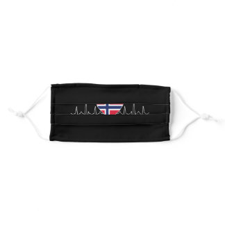 Norway Heartbeat Flag Adult Cloth Face Mask