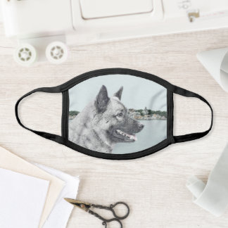 Norwegian Elkhound at Village Painting - Dog Art Face Mask