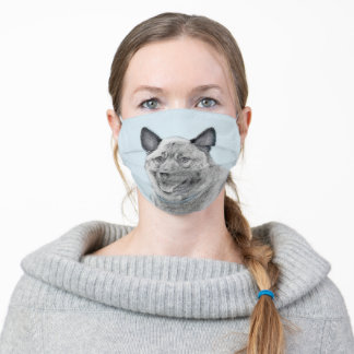 Norwegian Elkhound Painting - Original Dog Art Adult Cloth Face Mask