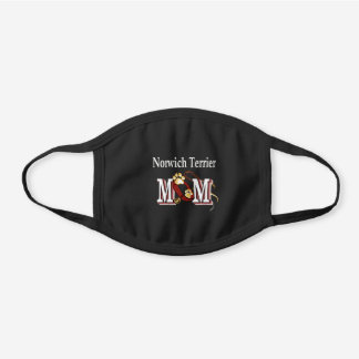 Norwich Terrier MOM Black Cotton Face Mask