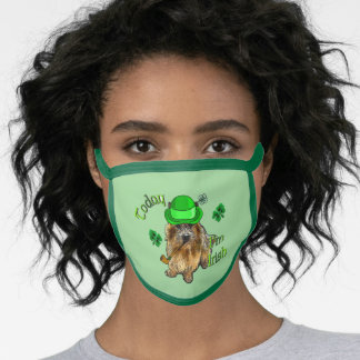 Norwich Terrier St. Patricks Day Face Mask