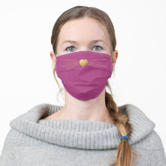 Nose and Whiskers Gold Heart Cute Plum Purple Adult Cloth Face Mask