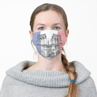 Notre Dame de Paris and French flag Adult Cloth Face Mask