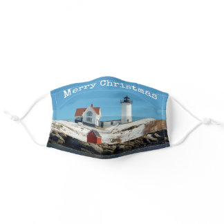 Nubble Lighthouse Maine Christmas Adult Cloth Face Mask