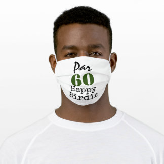 Number 60 par golf course for 60th birthday golfer adult cloth face mask