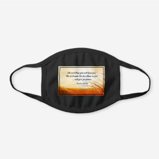 """Numbers 6:24-26 """"The Lord Bless You"""" Bible Verse Black Cotton Face Mask"""