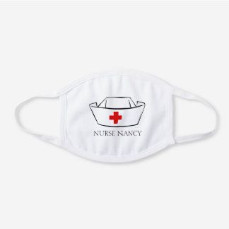 Nurse Cap Monogram Name White Cotton Face Mask