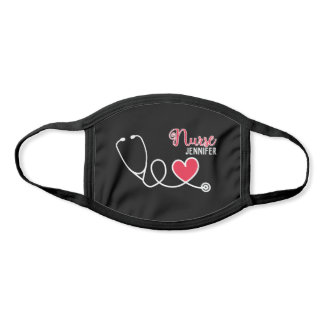 Nurse cute stethoscope with red heart & name Black Face Mask