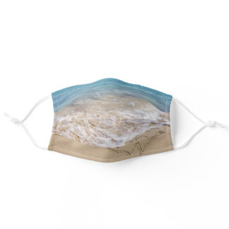 Ocean Beach Hearts with names Adult Cloth Face Mask