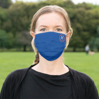 ocean blue orange -white initial adult cloth face mask