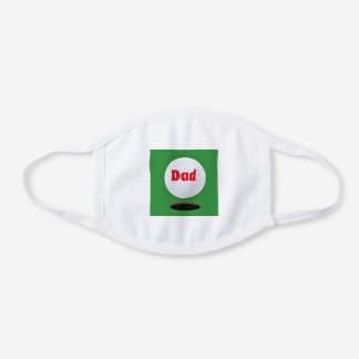 Official Dad / Golf Style Reusable White Cotton Face Mask