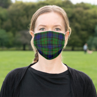 Ogilvie tartan blue green plaid adult cloth face mask