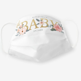 Oh Baby Shower Watercolor Floral Pink Rose & Gold Cloth Face Mask